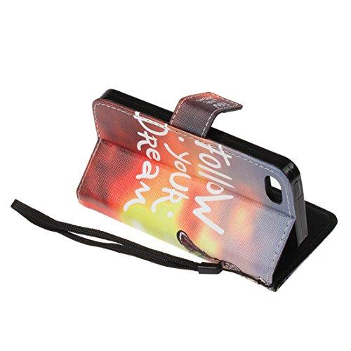 Cover iPhone 5 / 5S / SE Flip Case Morbido Portafoglio Custodia in Pelle PU , MAGQI Telefono Porta Carte di Credito Titolare Pittura 3D Shell Protettivo - Re di Leone Campanula