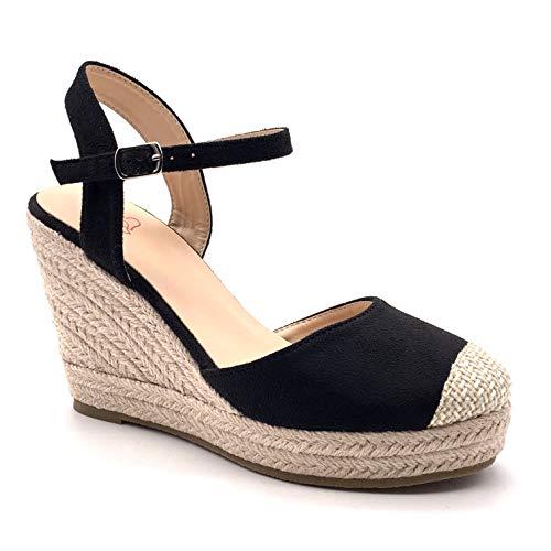 Angkorly - Damen Schuhe Sandalen Espadrilles - Böhmen - Lässig - romantisch - Riemen - mit Stroh - Geflochten Keilabsatz high Heel 9.5 cm - Schwarz F05 T 38 -