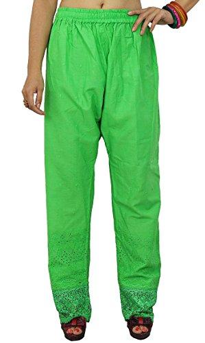 Verts pantalons larges Baggy Trousers élastiques femmes crochet sarouel bas de pyjamas Vert
