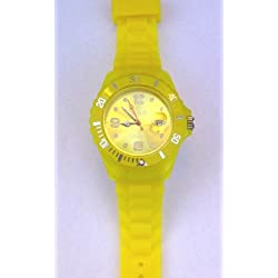 Unisex Yellow Toy Jelly Style Wrist Watch, Rubber Strap, Date & Time