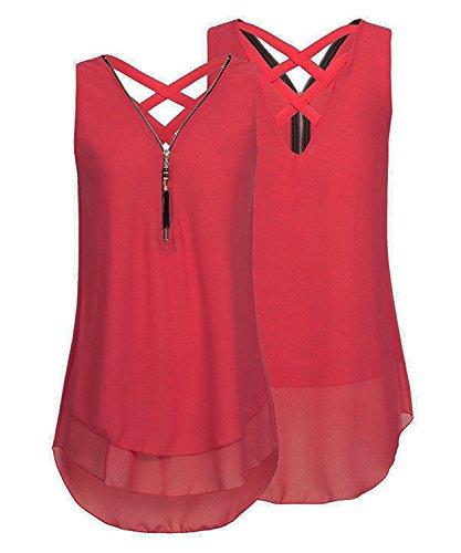 ASKSA Damen Chiffon Bluse Ärmellos Reißverschluss V Ausschnitt Rückenfrei Tank Tops T-Shirt (Rot, L)