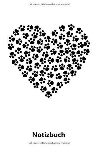 Notizbuch: Herz aus Hunde Pfoten - Hund | für Notizen, Skizzen, Zeichnungen, als Kalender oder Tagebuch; breites Linienraster (A5 | liniertes Papier | Soft Cover | 100 Seiten)