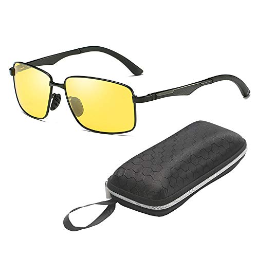 QYF HD-Nachtsicht Brillen zur Reduzierung des Fahrrisikos bei Nacht, UV 400-Augenschutz-Sportbrillen-Metallrahmen und verstärkte Scharniere,Yellow+Black