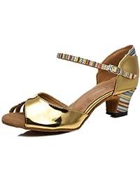 HCCY Viso Lucido Oro con Scarpe da Ballo Latino per Adulti con Fondo  Morbido per Adulti 96688f32ba3