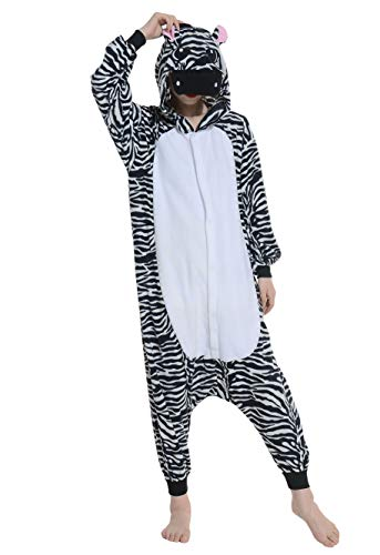 Kigurumi pigiama animali adulto unisex pigiama party halloween sleepwear cosplay costume onesie, zebra