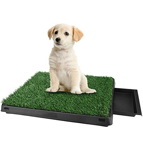 Laiozyen Rasen Hundeklo Hundetoiletten Welpentoilette Puppy Loo Gras Trainingsunterlage für Kleine Hunde Grosse Hunde ältere 63 x 51 x 7cm (Schwarz) -