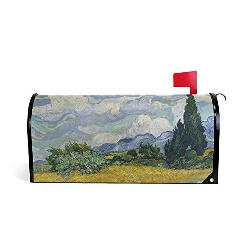 DOSHINE Weizenfeld Zypressen Van Gogh Briefkasten-Abdeckung magnetisch, Übergröße 65,5 x 53 cm Home Decor -