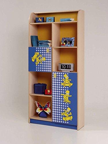 Abitti Estantería Librería Juvenil Roble Azul Serigrafía