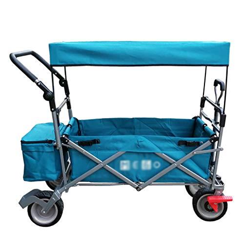 JCX Passeggino Pieghevole Push Pull Maniglia Carro Sport all'aperto Carrello Pieghevole per Bambini con/Baldacchino Utilità da Giardino Shopping Viaggio Carrello da Spiaggia - Installazione Sem