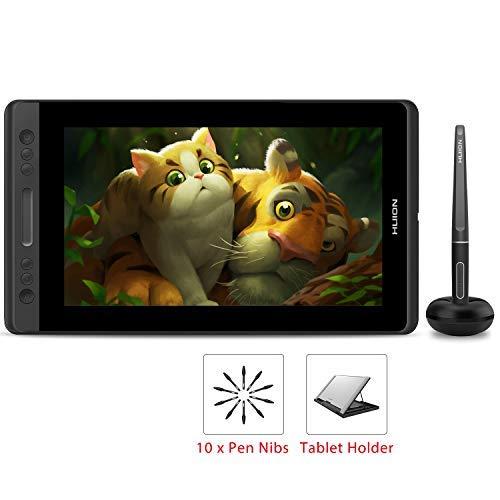 HUION KAMVAS PRO 13 HD 13.3 in grafiktablett mit Display mit Neigungsfunktion Batterieloser Stift mit 8192 Druckempfindlichkeit und 4 Express Keys 1 Touch Bars Grafiktablett mit Bildschirm