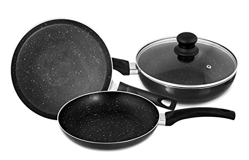 Singer Maxicook Graphite 3 Pcs Induction Base Non-Stick Cookware Set Including Tawa, Fry Pan & Kadai with Glass Lid