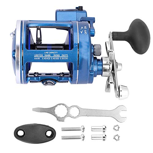 Topsale-ycld 12BB Offshore Angling Aluminum Alloy Drum Wheel Fishing Reel Line Counter (Right-Handed Blue) -