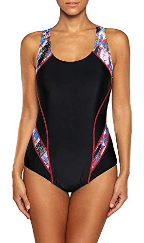 Anwell Badeanzug Damen einteilig Sport Training Bademode Rot M