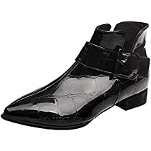 Innerternet Chaussures Bottes Mariage Courtes Bottines Vernis Bout Pointu  Femme Zip Talon Haut Bloc Chunky Heels Chaude b8f413367ef
