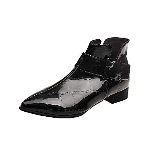 BaZhaHei Damen Schuhe Mode Classics Einfarbig Dicker Boden Dicker Absatz Spitz Seitlicher Zug Stiefel Booties