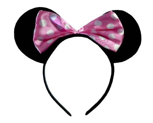 lice Bnd) Ohren Schwarz mit Rosa u. Weiße Tupfen Satin Bogen Minnie Maus Disney Kostümgeschäfte Haarband ()