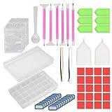 134pcs DIY diamante de pintura herramientas KAKOO con kits de caja de almacenamiento de 28 compartimento para organizadores las pierdas, diamantes, joyas, manicura de la uñas