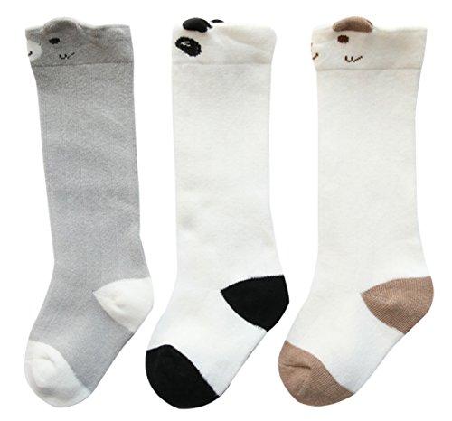 Feoya 3 Paar Baumwolle Hohe Socken Unisex Babysocken Niedlich Cartoon Muster Stulpen