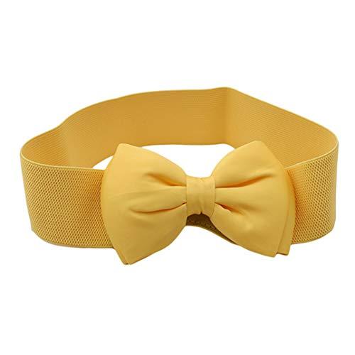 JOOFFF Damen Schleife Gürtel Chiffon breiter Gürtel elastisch dekorativer Gürtel Anzüge für Kleid, Rock, Jacke, Zubehör, gelb, Siehe Produktbeschreibung -