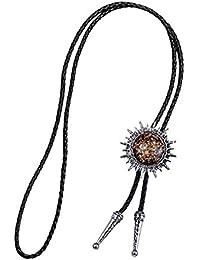 P Prettyia Bijoux Collier Homme Chaîne Necklace en Cuir Artificiel Style  Cow-Boy Western Américain 14e2ac5a6a5