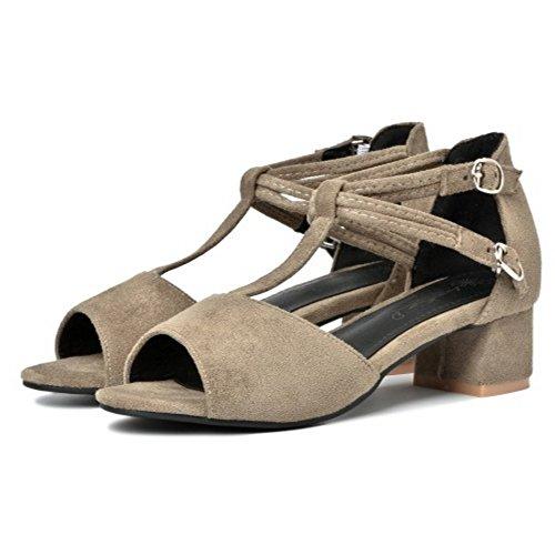 COOLCEPT Damen Mode T-Spangen Sandalen Blockabsatz Peep Toe Schuhe Grau