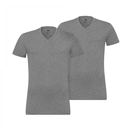 Levis® Herren V-Neck T Shirt 945004001 4er Pack Grau (middle grey melange 758)