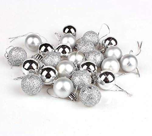 Electomania 24 Pieces Glitter Chic Christmas Tree Ball Baubles Xmas Party Hanging...