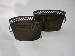 Schale oval mit Bordüre, S/2, Metall 24,5 x 18 x 13, rost