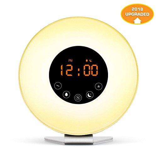 Wecker Wake up Licht led Lichtwecker Funkwecker Reisewecker Nachtlicht (Sonnenaufgangfunktion, Sonnenuntergangsfunktion digitales UKW Radio) 6 Naturgeräusche, und 7 Farben auswählen zur einen