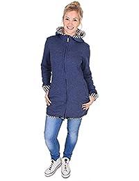 pannow maternidad de mujeres polar cálido forro polar sudadera con capucha canguro sudadera con capucha chaqueta multifuncional para portabebés, azul