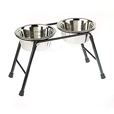Classic Pet Products Double Feeder High Stand with 2 x 900 ml Stainless Steel Dishes, 220 mm Tall from Caldex