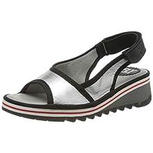 Fly London Women's TUNI160FLY Sling Back Sandals, Silver (Silver (Black) 001), 3 UK 36 EU