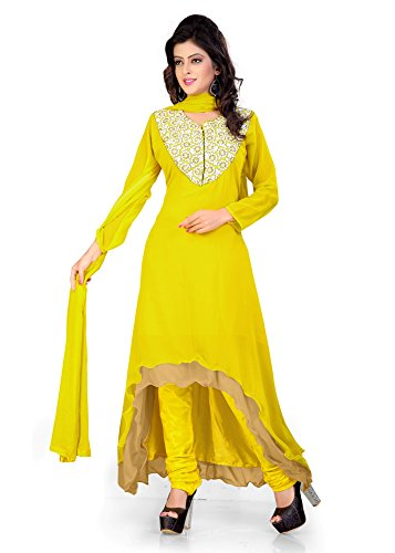 BikAw Embroidered Yellow Georgette Fashion Anarkali Style Party Wear Semi-Stitched Suit. -...