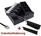 Mini Kassenlade iQCash330 mit Untertischhalterung RJ12/RJ11 33x34,5x10cm, Kassenschublade Geldlade Geldkassette