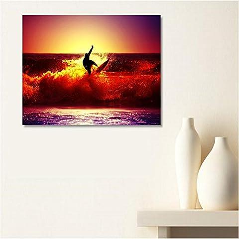 AUX Prix Canons–cuadro lienzo Canvas Ocean surfista rodillo tumbado sol 60x 80cm