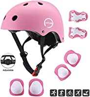 JIFAR Youth Kids Bike Helmet for Ages 3-11, Adjustable Toddler Protective Gear with Elbow Knee Wrist Pads for