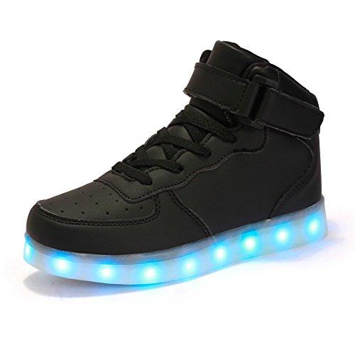AFFINEST Alta Top USB ricarica LED lampeggiante moda scarpe per bambiniper le ragazze e ragazzi(Nero,39)