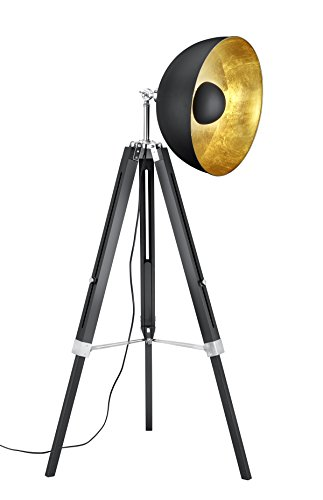 Trio Leuchten Stehleuchte, Metall, E27, Schwarz Matt / Goldfarbig, 80 x 80 x 160 cm
