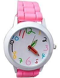 Vovotrade Reloj hermoso del todo-fósforo del estudiante de la muchacha del muchacho del cuarzo colorido de los niños de la historieta de (Rosa)