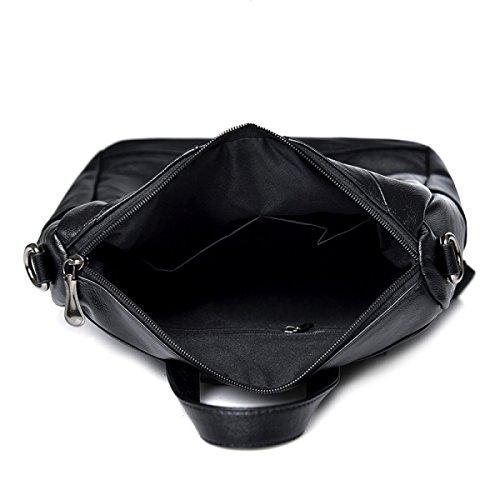 Rucksack Damen Nähtasche Mode Pu Reisetasche Blackwithgreen