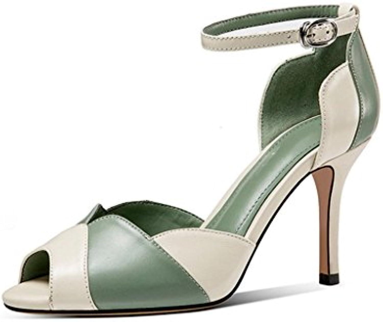 0ec4deea211ccd jianxin summer cuir chaussures à à à talons aux pieds la boucle sangles  contraste couleur bien au pied des sandales (taille: ue...b07fzx3njz parent  ...