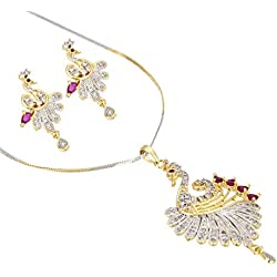 Zeneme Peacock Desing American Diamond Gold Plated Pendant Set with Earring for Girls/Women ...