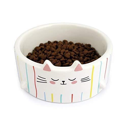 PET Bowl-Stereo Cat Ears Cute Ceramic Cat Bowl Water Bowl Stereo Tail Cat Food Bowl Microwave,Color,13 * 4.5CM -