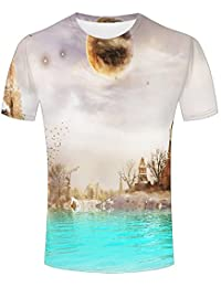 WEIYI BO Mens 3D Animal Print Tees Red-Eyed Tree Frog Short Sleeve T-Shirts for Couples