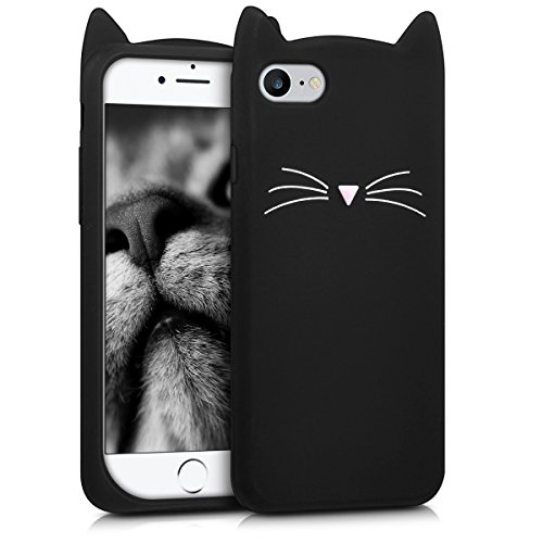 kwmobile Hülle für Apple iPhone 7 / 8 - TPU Silikon Backcover Case Handy Schutzhülle - Cover Katze Design Schwarz Weiß