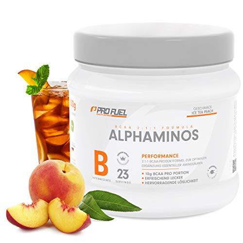 ALPHAMINOS | BCAA 2:1:1 | Das ORIGINAL von ProFuel | Essentielle Aminosäuren | Unfassbar leckerer Geschmack | 300g - ICE TEA PEACH (Eistee Pfirsich)