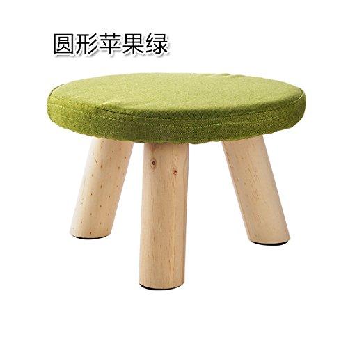 Tabouret en bois massif salon canapé table basse tabouret tabouret chaussures chaussures de mode tabouret tabouret tissu petit rond vert pomme