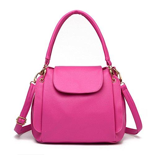 Sacchetto Di Spalla Portatile Signora Messenger Bag Secchiello Tre Cerniera Pink
