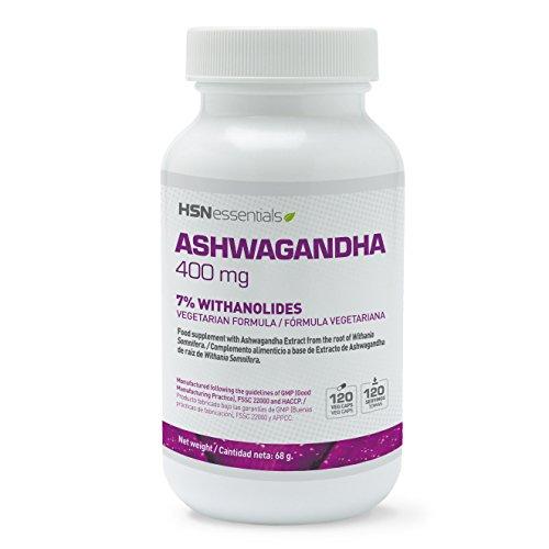Ashwagandha de HSN Essentials - Alivio Natural del Estrés y Ansiedad, Revitaliza y actualiza tus defensas. Soporte inmunológico. Eleva tu Testosterona - 400mg - 120 Cáp