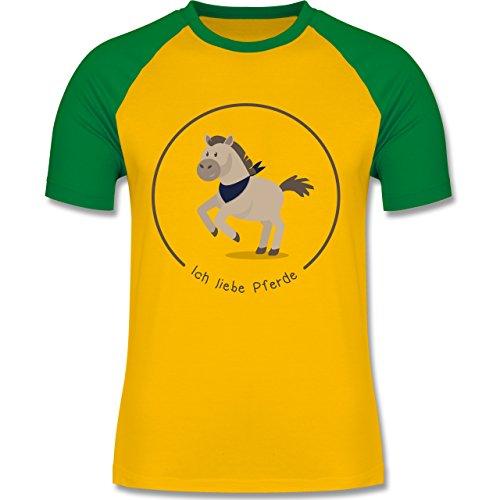 Pferde - Ich liebe Pferde - zweifarbiges Baseballshirt für Männer Gelb/Grün
